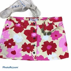 Cotton Floral Mini Skirt with Front Snaps
